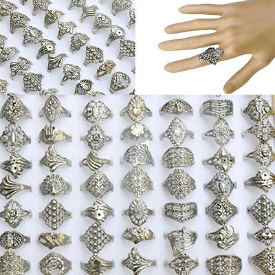 $ CDN4.41 • Buy 20PCS Wholesale Lots Jewelry Mixed Style Tibet Silver Vintage Rings Free Ship