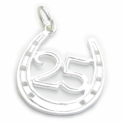25 In Horseshoe Sterling Silver Charm .925 X 1 25th Wedding Anniversary • 14.75£
