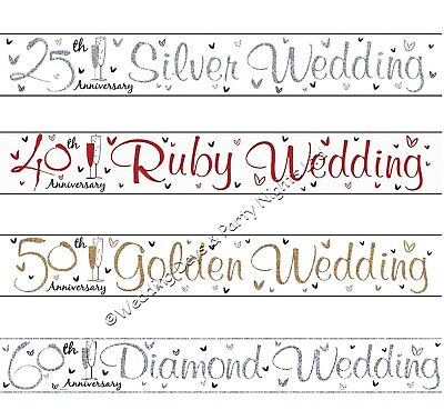 9ft Holographic Sparkly Foil Wedding Anniversary Banner Party Wall Decorations • 1.69£