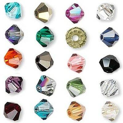 $1 • Buy 6 Swarovski Crystal 3mm Xilion Faceted Bicone Double Cone Beads With Facets A-K