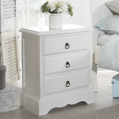 £123.49 • Buy White Bedside Table 3 Drawer Cabinet Bedroom Furniture Antique White ROMANCE