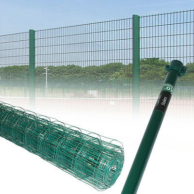 0.9M 1.2M Green PVC Coated Steel Mesh Fencing Wire Galvanised 1M 1.5M Stakes • 29.99£