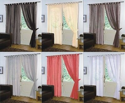 Pair Of  Voile Net Panels TAB TOP  Curtains + Free Tie Backs • 8.95£