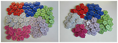 £2.44 • Buy 10 Flower Or Heart Shaped Sparkly  Glitter Two Hole Buttons 6 Colours To Choose