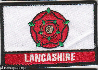 Lancashire County Red Rose Oblong Embroidered Patch Badge • 3.30£