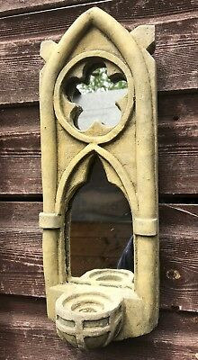 £19.99 • Buy Gothic Arch Mirror Single Candle Sconce Stone Home Garden Ornament 31cm (12 ) H