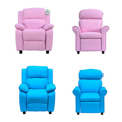 Kids Recliner Armchair Games Chair Sofa Childrens Seat  In PU Leather Pink Blue • 75.99£