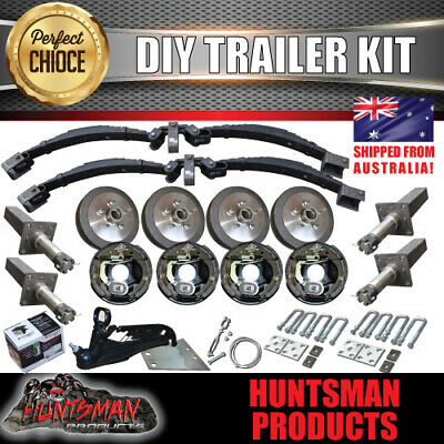 AU1330 • Buy DIY 3200Kg Tandem Trailer Caravan Kit. 10  Electric Brakes. Stub Axles, R/Roller