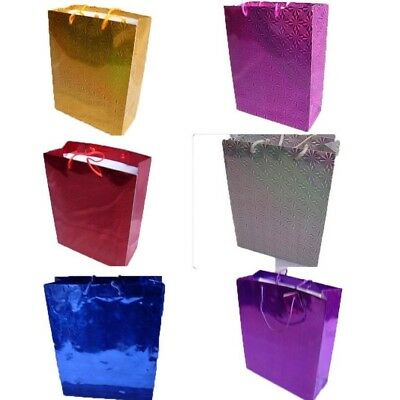 £1.85 • Buy Large Shiny Paper Carrier Present Gift Bags Christmas Wedding Birthday 32X 26cm
