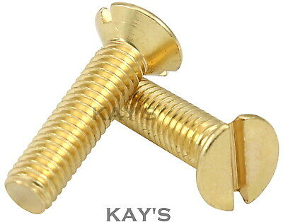 £2.52 • Buy Solid Brass Slotted Countersunk Machine Screws Slot Csk Head Bolts M3 M4 M5 M6