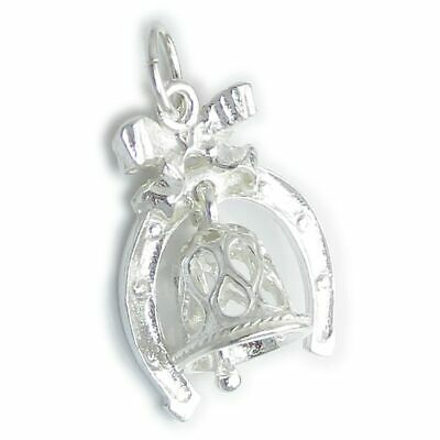Wedding Bell In A Lucky Horseshoe Sterling Silver Charm .925 X 1 Marriage • 13.99£