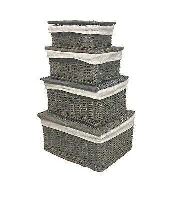 Grey Wicker Or Tapered Baby Nursery Storage Basket Chest Trunk Toy Blanket Box • 11.99£
