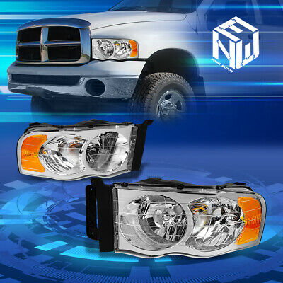 $75.33 • Buy For 02-05 Dodge Ram 1500 2500 3500 Chrome/Amber Corner Headlights Replacement