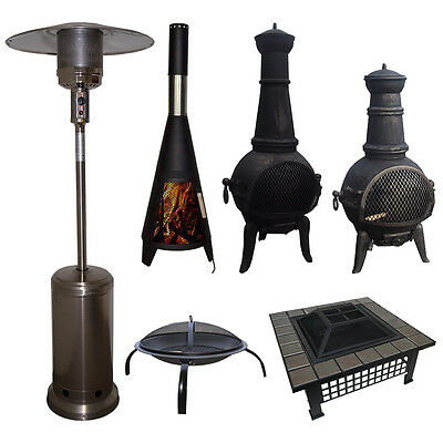 Outdoor Garden Patio Heater Chimnea Fire Pit Open Heat Gas Charcoal Fuel Burners • 39.99£