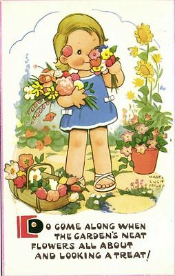 $7.99 • Buy Artist Signed MABEL LUCIE ATTWELL, Girl Flowers (1965)