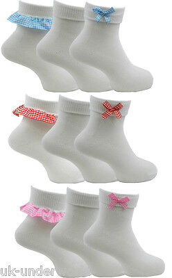 £3.90 • Buy 6 Pairs Girls Ladies White Ankle School Socks With Gingham Check Frill Lace Bow
