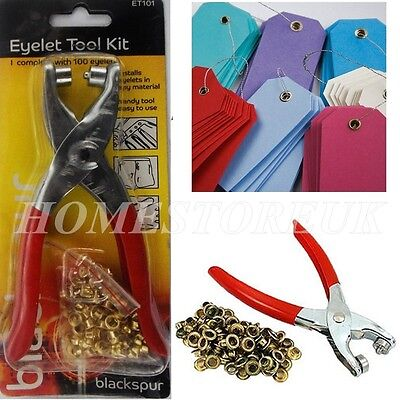 Eyelet Pliers Hole Punch Complete Tool Kit Set With 100 Brass Eyelets Craft T101 • 3.95£