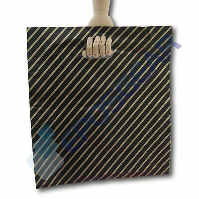 100 Extra Large Black And Gold Striped Gift Shop Boutique Plastic Carrier Bags • 6.40£