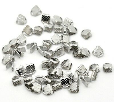 £2.69 • Buy 100 Ribbon End Clamps Cord Ends 6mm Silver Tone Jewellery Findings J14902G