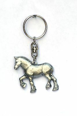 Shire Heavy Horse Dray   Pewter Keyring Farming Present In Gift In Pouch  327 • 6.99£