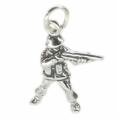 Soldier Sterling Silver Charm .925 X 1 Soldiers War Battle Charms SSLP2539 • 8.99£