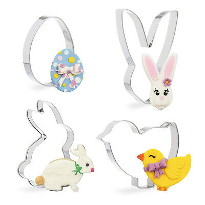 £3.49 • Buy 4 Pack Easter Cookie Cutter Set Bunny Chicken Egg Chick Rabbit Fondant Biscuit