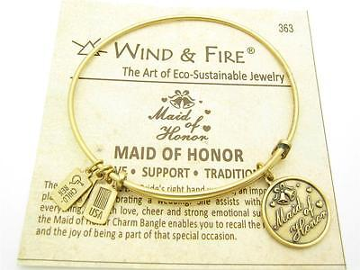$24.95 • Buy Wind & Fire Maid Of Honor Charm Gold Wire Bangle Stackable Bracelet USA Gift