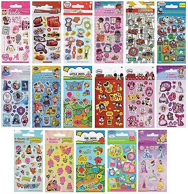 Childrens CHARACTER FUN STICKERS - 6 SHEETS Party Pack Birthday Loot Bag Fillers • 9.99£