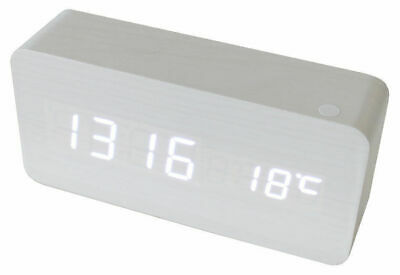 AU25 • Buy White Led Wooden 3 Alarm Clock + Temperature Display Usb/Battery Wood White 6035
