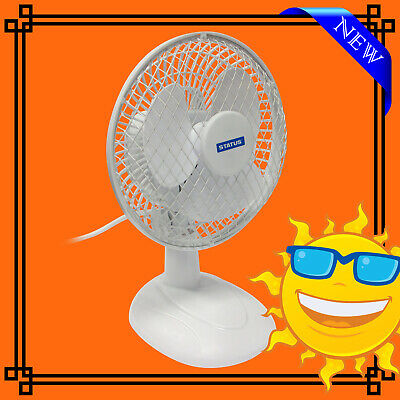 6  Desk Fan 2 Speed Air Cooling Cool Breeze Adjustable Head Portable - New • 9.95£