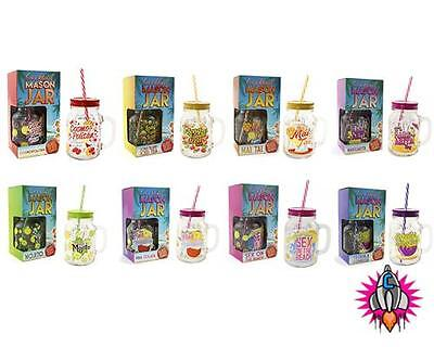 Cocktail Jam Jar Moonshine Mason Drinking Glass With Lid And Straw Party • 8.95£