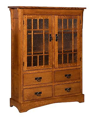 $2399 • Buy Amish Mission Arts Crafts Bookcase Glass Doors Solid Wood Cabinet 46 X 60