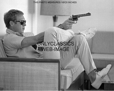 £19.31 • Buy COOL STEVE McQUEEN AIMS GUN ON COUCH 16X20 PHOTO TENNIS SHOES WATCH SUNGLASSES