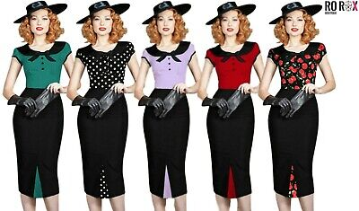 £11.99 • Buy New Rockabilly Retro Vintage Style 40's 50's Pin Up Wiggle Pencil Bow Tea Dress