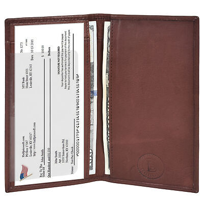 $8.99 • Buy Leatherboss Genuine Leather PLAIN Checkbook Cover With ID Slot, Dark Brown