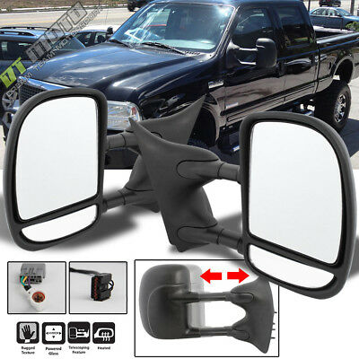 $102.99 • Buy Left+Right 99-07 Ford F250~F550 SuperDuty Telescoping Power+Heat Side Tow Mirror