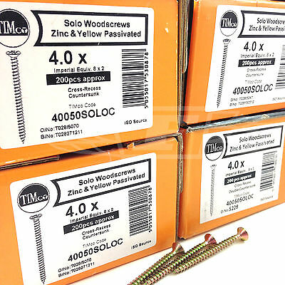 £15.99 • Buy PACKS OF 1000, 8g (4mm) PROFESSIONAL TIMCO YELLOW WOOD SCREW POZI COUNTERSUNK