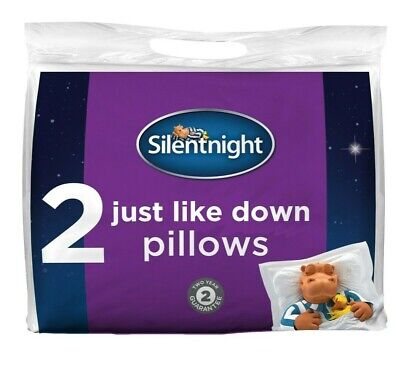 £13.99 • Buy Silentnight Just Like Down Hollowfibre Pillows Two 2 Pack Soft Medium Firm Bed