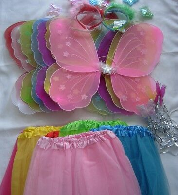 4 Pc Girl Kids Fairy Butterfly Wings Wand Headband Tutu Skirt Party 13 Colour • 6.75£