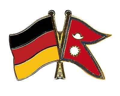 Germany & Nepal Friendship Flags Gold Plated Enamel Lapel Pin Badge • 4.99£