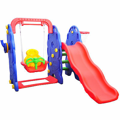 Kids Children Playground 3in1 Swing Chair Slide Basketball Hoop Play Toy Center • 132.99£