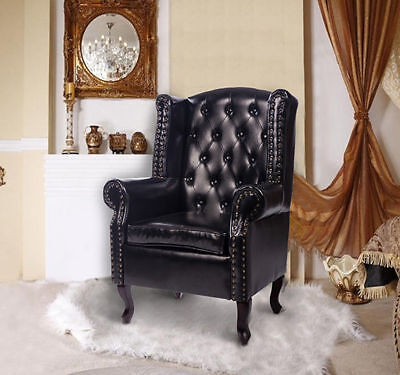 £182.99 • Buy PU Leather High Back Chair Queen Style Armchair Seat Cushion Backrest