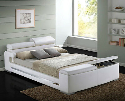 $1095 • Buy NEW HERMAN MODERN WHITE BYCAST LEATHER QUEEN Or KING PLATFORM BED W/ STORAGE