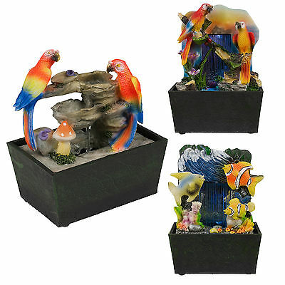 Table Top LED Light Waterfall Feature Indoor Home Water Pump Fish Parrot Bird • 9.99£