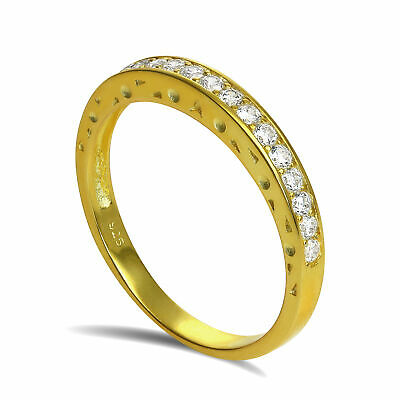 £12.25 • Buy Gold Plated Sterling Silver CZ Crystal Half Eternity Ring Size I - U