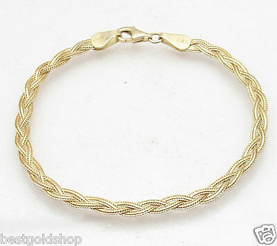 $199.50 • Buy Triple Strand Braided Fox Tail Link Bracelet Real 14K Yellow Gold FREE SHIPPING