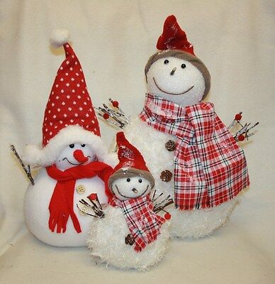 White Glittered Soft Snowmen Christmas Ornaments Mantlepiece Show Window Display • 14.99£
