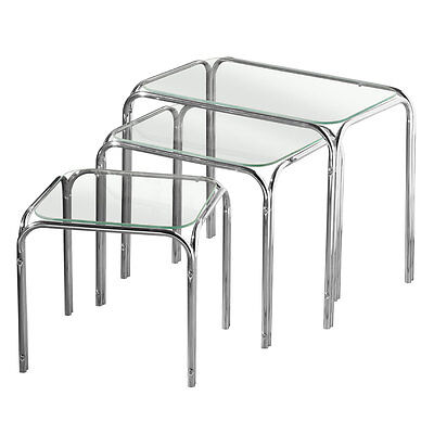 Quality Nest Of 3 Clear Glass Tables Chrome Legs Home Office Living • 41.99£