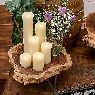 6 PC Battery Power LED Flameless Flickering Wax Candles | Pillar Home Decor • 15.99£