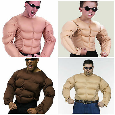 £14.99 • Buy Mens Muscle Chest Shirt Rambo Padded Army Boys Strongman Fancy Dress Costume Top